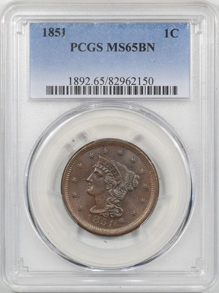 Braided Hair Large Cents 1851 BRAIDED HAIR CENT PCGS MS-65 BN