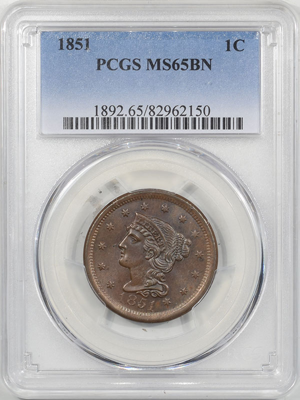 Coin World/Numismatic News Featured Coins 1851 BRAIDED HAIR CENT PCGS MS-65 BN