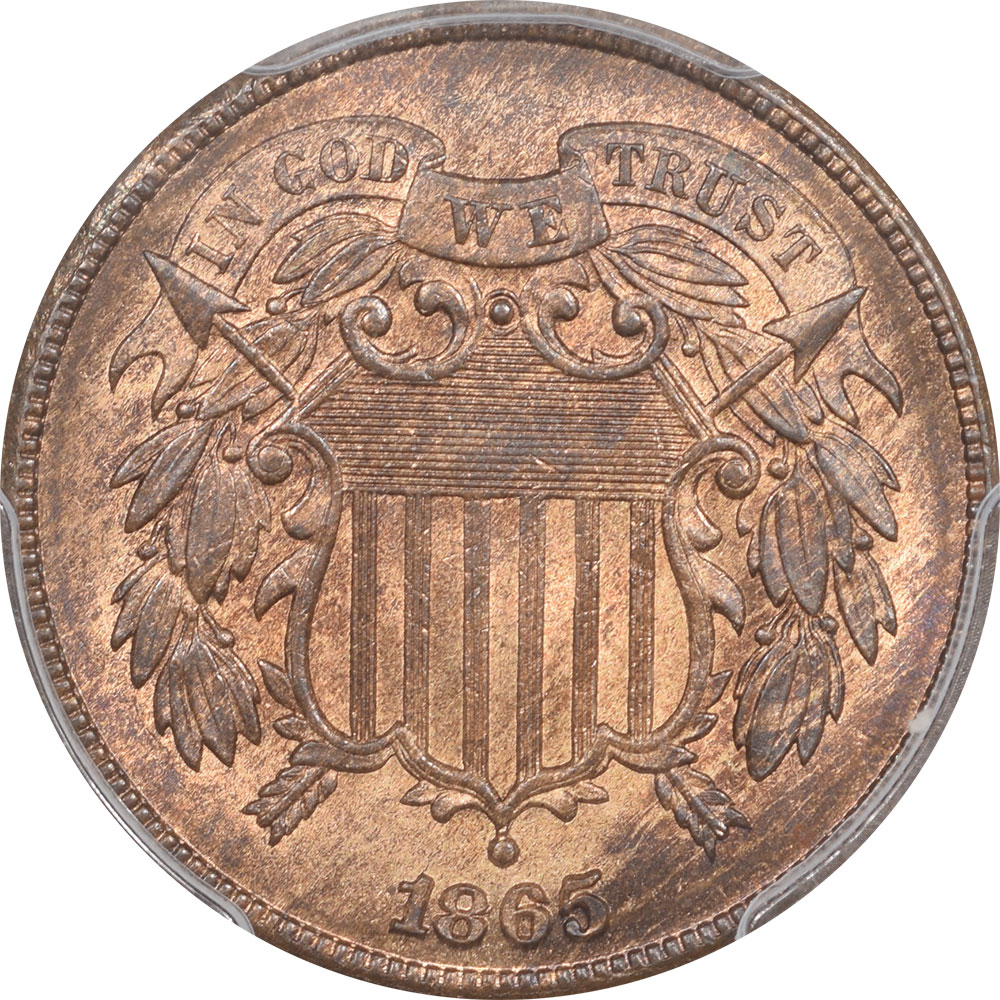 Two Cent Pieces 1865 TWO CENT PIECE PCGS MS-66 RB