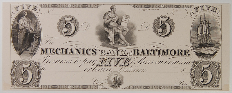 U.S. Currency 1830 BALTIMORE, MD MECHANICS BANK OF BALTIMORE $5 GEM PROOF R-7 SHANK #5.124.29P