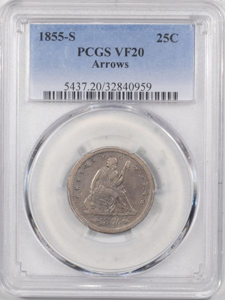 Liberty Seated Quarters 1855-S LIBERTY SEATED QUARTER – ARROWS PCGS VF-20