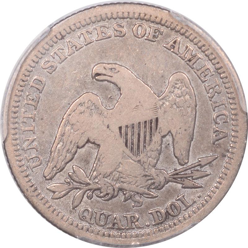 Liberty Seated Quarters 1855-S LIBERTY SEATED QUARTER – ARROWS PCGS VF-20