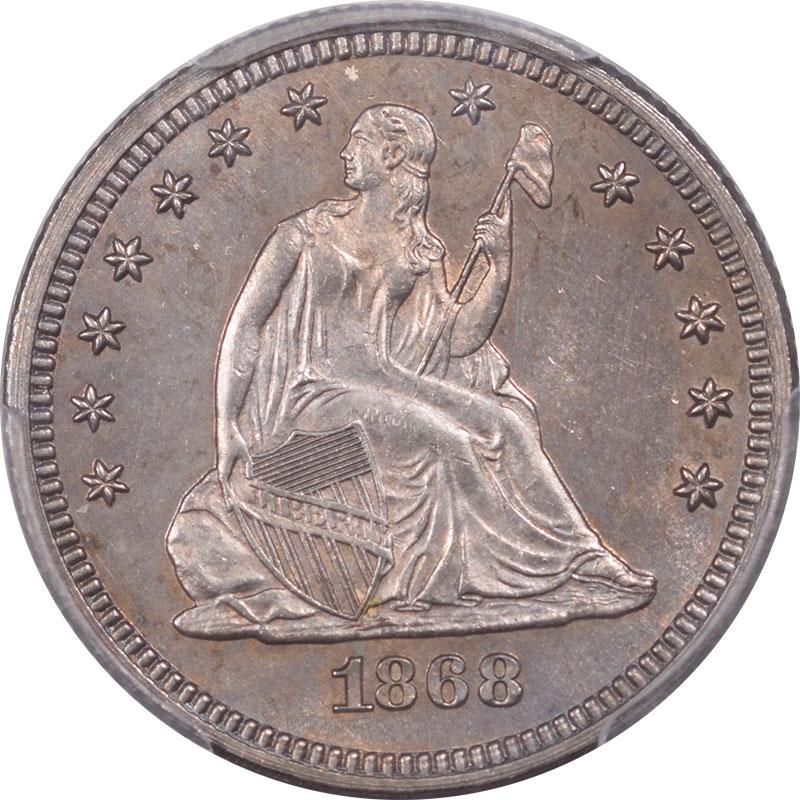 Liberty Seated Quarters 1868 LIBERTY SEATED QUARTER PCGS MS-63