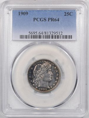 Barber Quarters 1909 PROOF BARBER QUARTER PCGS PR-64