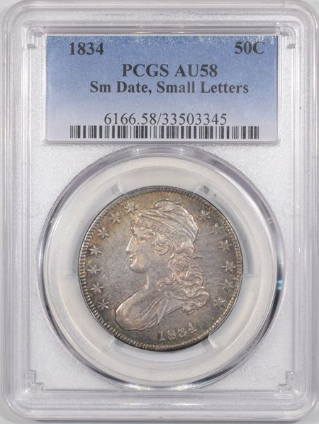 Early Halves 1834 CAPPED BUST HALF DOLLAR – SMALL DATE, SMALL LETTERS PCGS AU-58