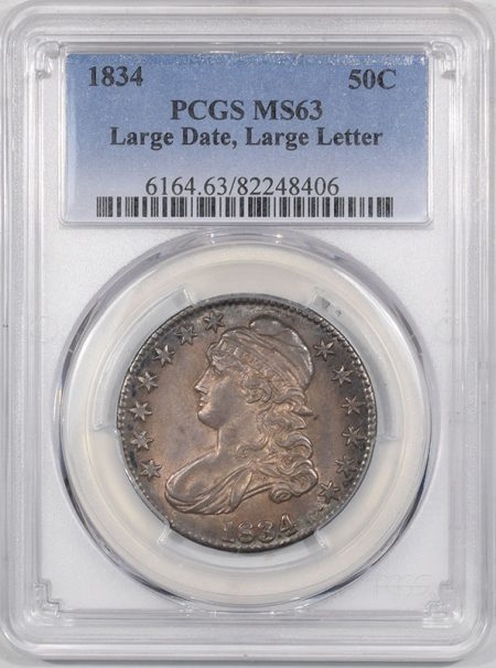 Coin World/Numismatic News Featured Coins 1834 CAPPED BUST HALF DOLLAR – LARGE DATE,LARGE LETTER PCGS MS-63