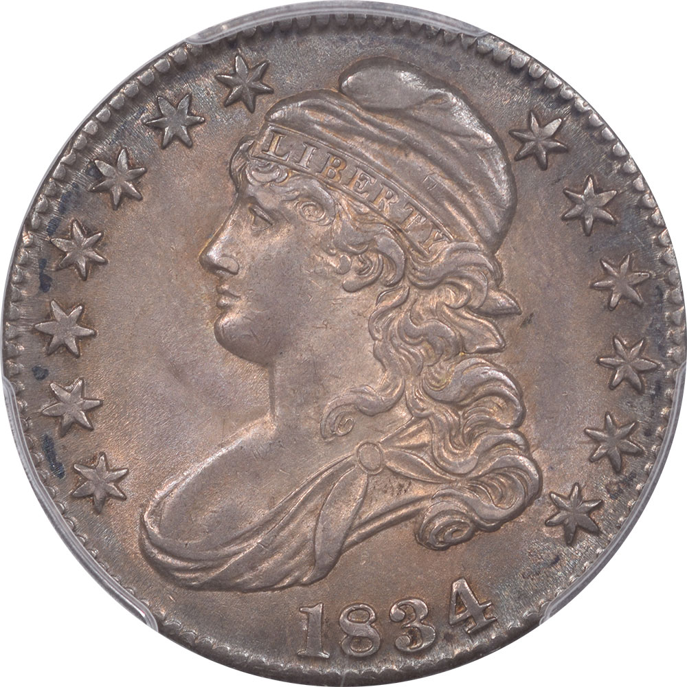 Early Halves 1834 CAPPED BUST HALF DOLLAR – LARGE DATE,LARGE LETTER PCGS MS-63