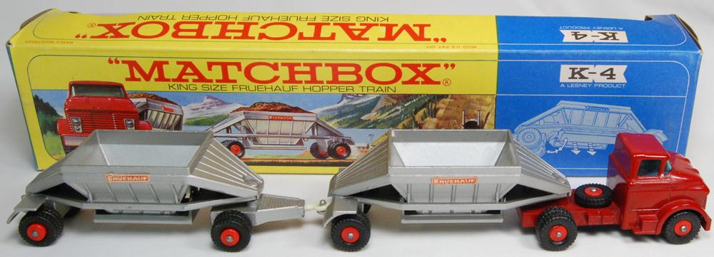 Matchbox 1967 MATCHBOX #K-4 FREUHAUF HOPPER TRAIN near-MINT W/ SCARCE EXC WINDOW BOX