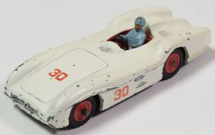 Dinky 1962 DINKY #237 MERCEDES BENZ RACER, CREAM, RED PLASTIC HUBS, BLUE DRIVER-FAIR