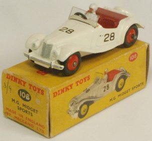 Dinky 1955 DINKY #108 MG MIDGET, CREAM W/ RED INTERIOR & HUBS near-MINT W/ VG+ BOX