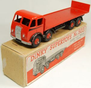 Dinky 1947 DINKY #503 FODEN FLAT TRUCK W/ TAILBOARD; A RARE MODEL VG+/EXC W/ VG+ BOX