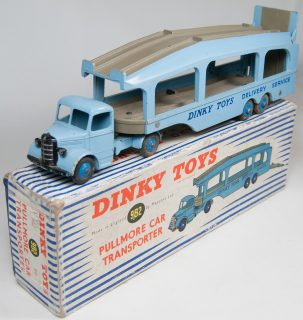 Dinky 1955 DINKY #982 PULLMORE CAR TRANSPORTER, EXC (DIRTY TIRES) W/ GOOD+ BOX