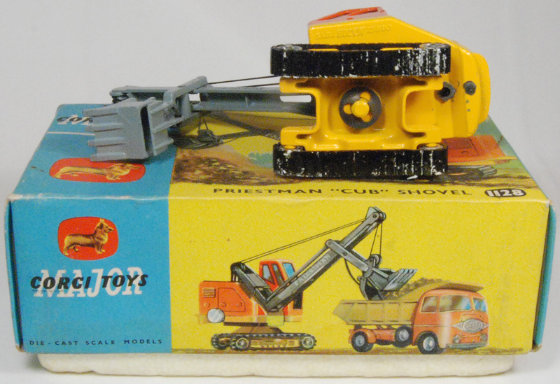 Corgi 1963 CORGI #1128 PRIESTMAN CUB SHOVEL near-MINT (RESIDUE ON TRACKS) W/ EXC BOX
