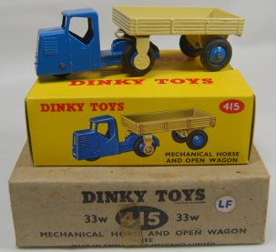 Dinky DINKY #415 MECHANICAL HORSE/WAGON, w/ A BOXED MODEL & EMPTY BOX nr-MINT