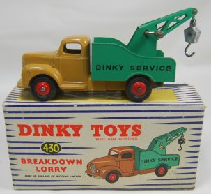 Dinky DINKY #430 COMMER BREAKDOWN LORRY, LT BROWN & GREEN EXC+/near-MINT w/ VG+ BOX