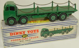 Dinky DINKY #905 FODEN FLAT TRUCK, GREEN, 2ND CAB STYLE EXC w/ EXC BOX