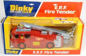 Dinky 1976 DINKY #266 E.R.F. FIRE TENDER, GREY LADDER & LADDER WHEEL MINT W/ EXC BOX
