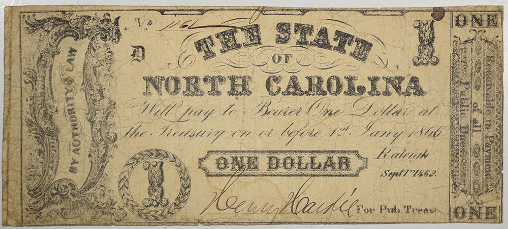 U.S. Currency SEPT 1, 1862 STATE OF NORTH CAROLINA $1.00, NO IMPRINT, R-7, CR-88a VG/FINE