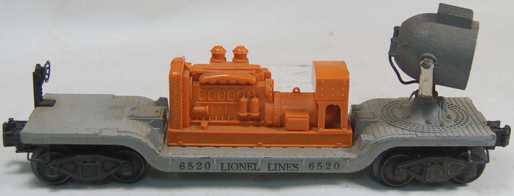 Other Collectibles 1949 LIONEL #6520 SEARCH LIGHT CAR, SILVER W/ ORANGE MOTOR IN EXC