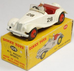Dinky 1955 DINKY #108 M.G. MIDGET SPORTS, CREAM/RED EXC W/ VG BOX
