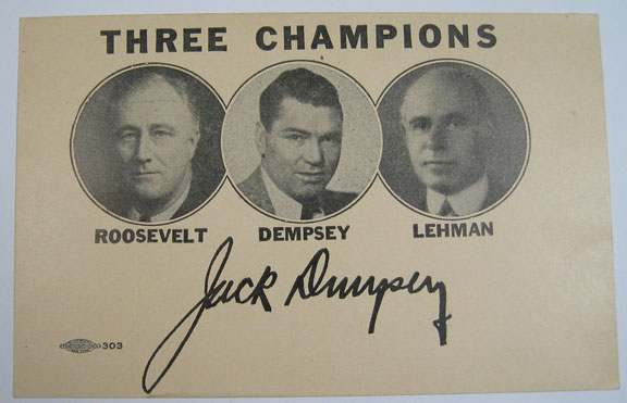 Other Collectibles 1942 FDR/JACK DEMPSEY/GOV. LEHMAN PHOTO CARD W/ FACSMILE SIGNATURE MINT!