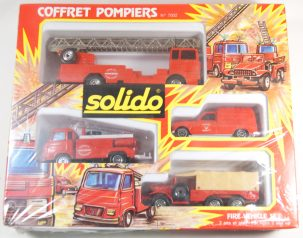 Other Collectibles 1975 SOLIDO #7002 COFFRET POMPIERS FIRE VEHICLES SET MINT IN near-MINT BOX