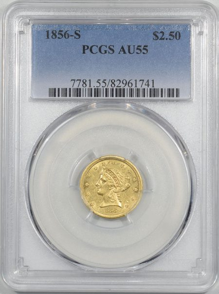 Coin World/Numismatic News Featured Coins 1856-S $2.50 GOLD PCGS AU-55