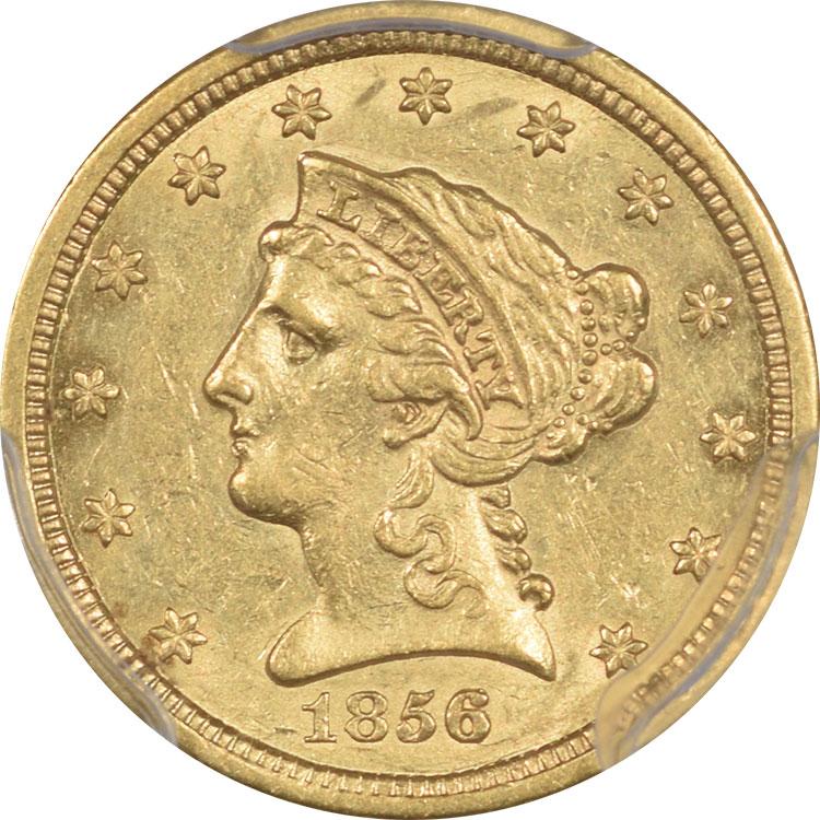 $2.50 1856-S $2.50 GOLD PCGS AU-55