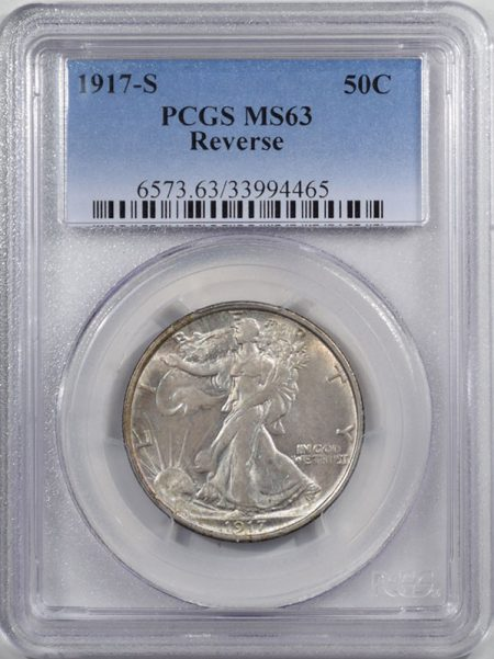 Walking Liberty Halves 1917-S WALKING LIBERTY HALF DOLLAR – REVERSE PCGS MS-63
