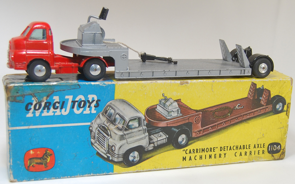 Corgi 1958 CORGI #1104 CARRIMORE ARTICULATED MACHINERY CARRIER EXC w/ GOOD+ BOX
