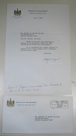 Other Collectibles May 1, 1968 SPIRTO T. AGNEW SIGNED LETTER, M.L. King ASSASSINATION w/Env. XF/NM
