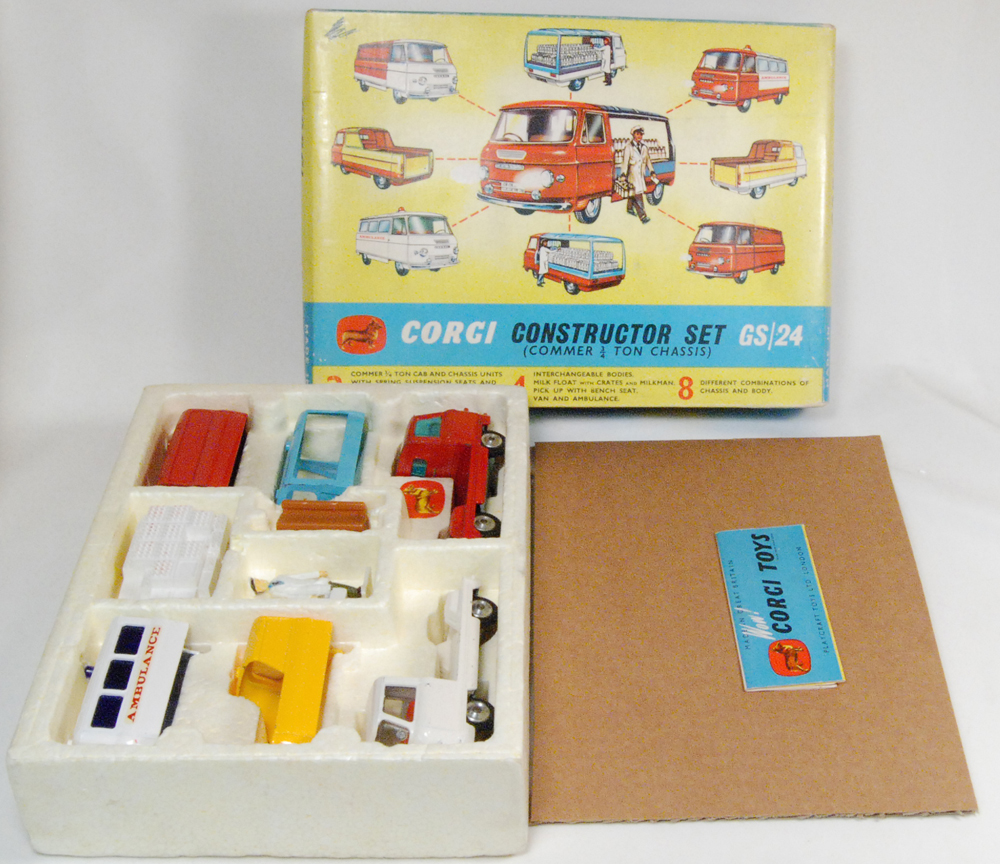Corgi 1963 CORGI #GS-24 CONSTRUCTOR SET EXC MODELS w/ VG BOX