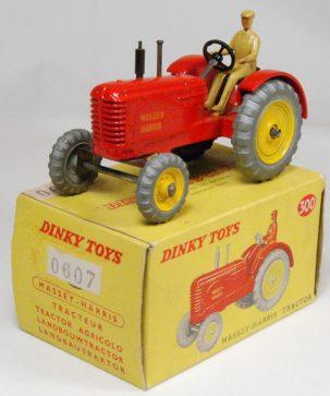 Dinky 1966 DINKY #300 MASSEY-HARRIS TRACTOR, FLAWS TO REAR WHEEL nr-MINT w/ VG BOX