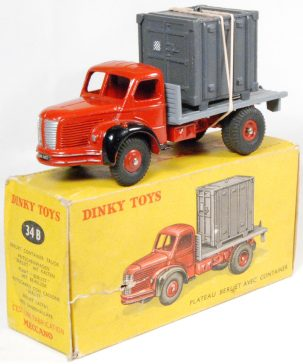 Dinky 1956 DINKY #34B BERLIET CONTAINER TRUCK near-MINT w/ GOOD+ BOX