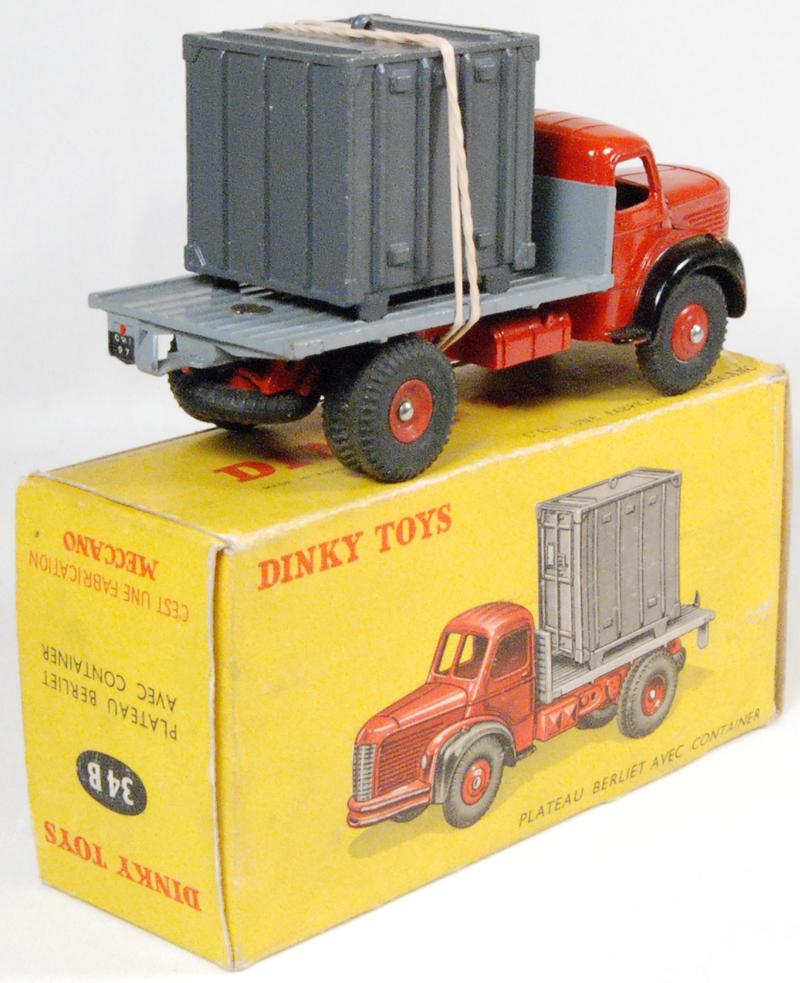 Dinky 1956 DINKY #34B BERLIET CONTAINER TRUCK near-MINT w/ GOOD+ BOX