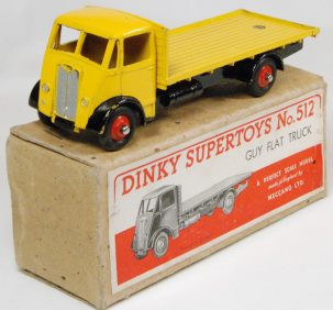 Dinky 1947 DINKY #512 GUY FLAT TRUCK, YELLOW/BLACK EXC+ w/ near-MINT BOX