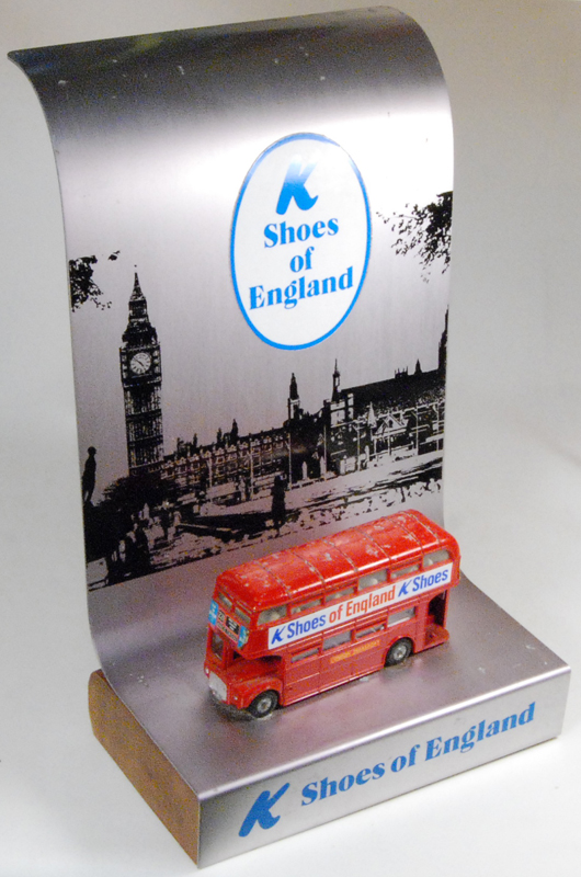 Dinky 1964 DINKY #289 ROUTEMASTER BUS 'K-SHOES OF ENGLAND'  RARE! GOOD+ w/VG+ STAND
