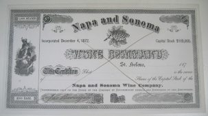 Other Collectibles 1872 EARLY NAPA WINE STOCK CERTIFICATE JACOB BERINGER SIGNED, RARE! EXC/NR MINT