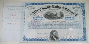 Other Collectibles 1876 NORTHERN PACIFIC RAILROAD STOCK CERTFICATE JAY COOKE SIGNED EXC/NR MINT