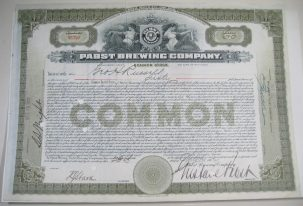 Other Collectibles 1912 PABST BREWING COMPANY STOCK CERTIFICATE GUSTAV PABST SIGNED EXC/NR MINT