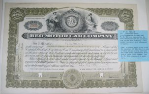 Other Collectibles 1916 REO MOTOR COMPANY STOCK CERTIFICATE RANSOM OLDS SIGNED EXC/NR MINT