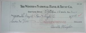 Other Collectibles 1942 ORVILLE WRIGHT ORIGINAL SIGNED CHECK EXC/NR MINT, WRIGHT BROTHERS
