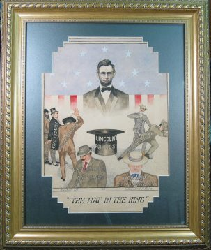 Other Collectibles 1912 GRAPHIC HAT IN THE RING TAFT-RELATED PAINTED POSTER FRAME VG W/ CORNER TEAR