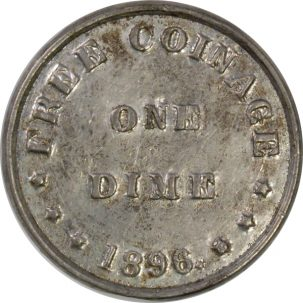Other Numismatics 1896 BRYAN DIME-SCHORNSTEIN 307; TIBBETTS, COLUMBUS, OH; BLANK BACK; LEAD XF/AU