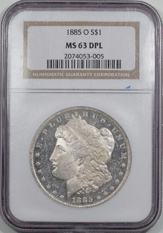 Morgan Dollars 1885-O MORGAN DOLLAR NGC MS-63 DPL, PREMIUM QUALITY