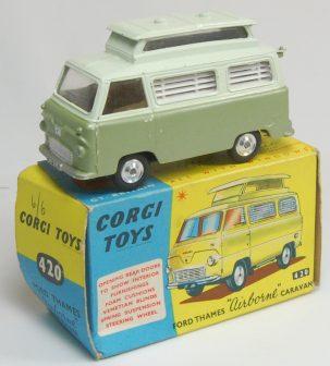 Corgi 1962 CORGI #420 FORD THAMES AIRBORNE CARAVAN near-MINT W/ VG BOX