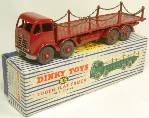 Dinky 1954 DINKY #905 FODEN FLAT TRUCK WITH CHAINS, 2ND CAB TYPE, EXC+ W/ VG+/EXC BOX