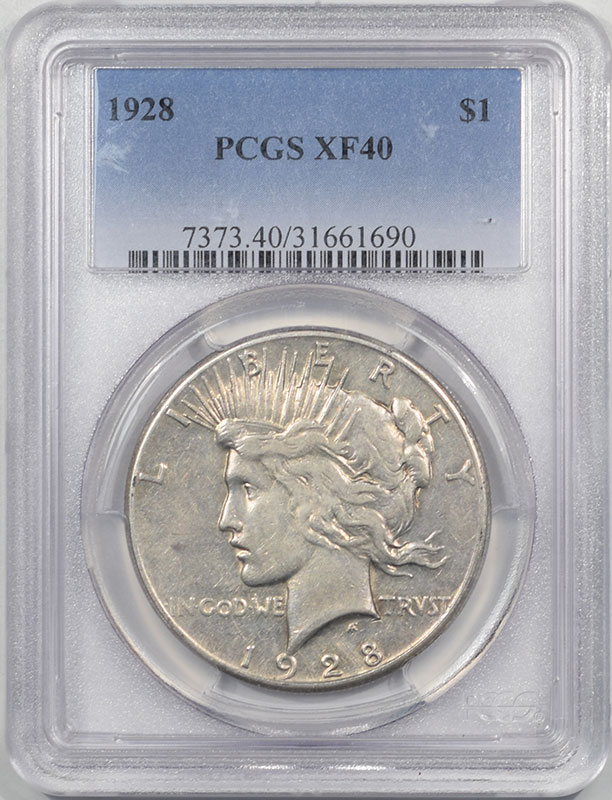 Peace Dollars 1928 PEACE DOLLAR PCGS XF-40
