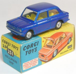 Corgi 1963 CORGI #251 HILLMAN IMP METALLIC BLUE NEAR MINT W/EXC BOX