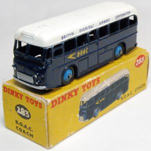 Dinky 1956 DINKY #283 B.O.A.C. COACH EXC MODEL W/ GOOD (GENERALLY TATTY) BOX